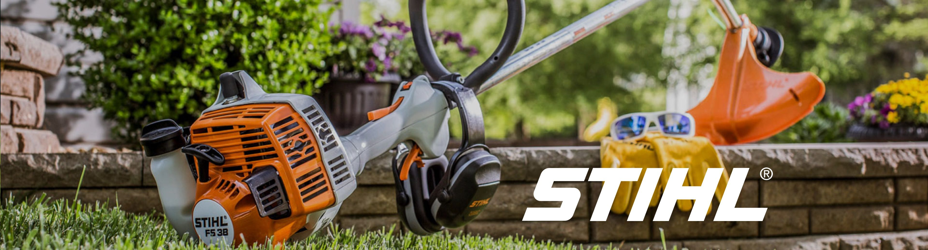 Stihl weed eater with gloves and sunglasses
