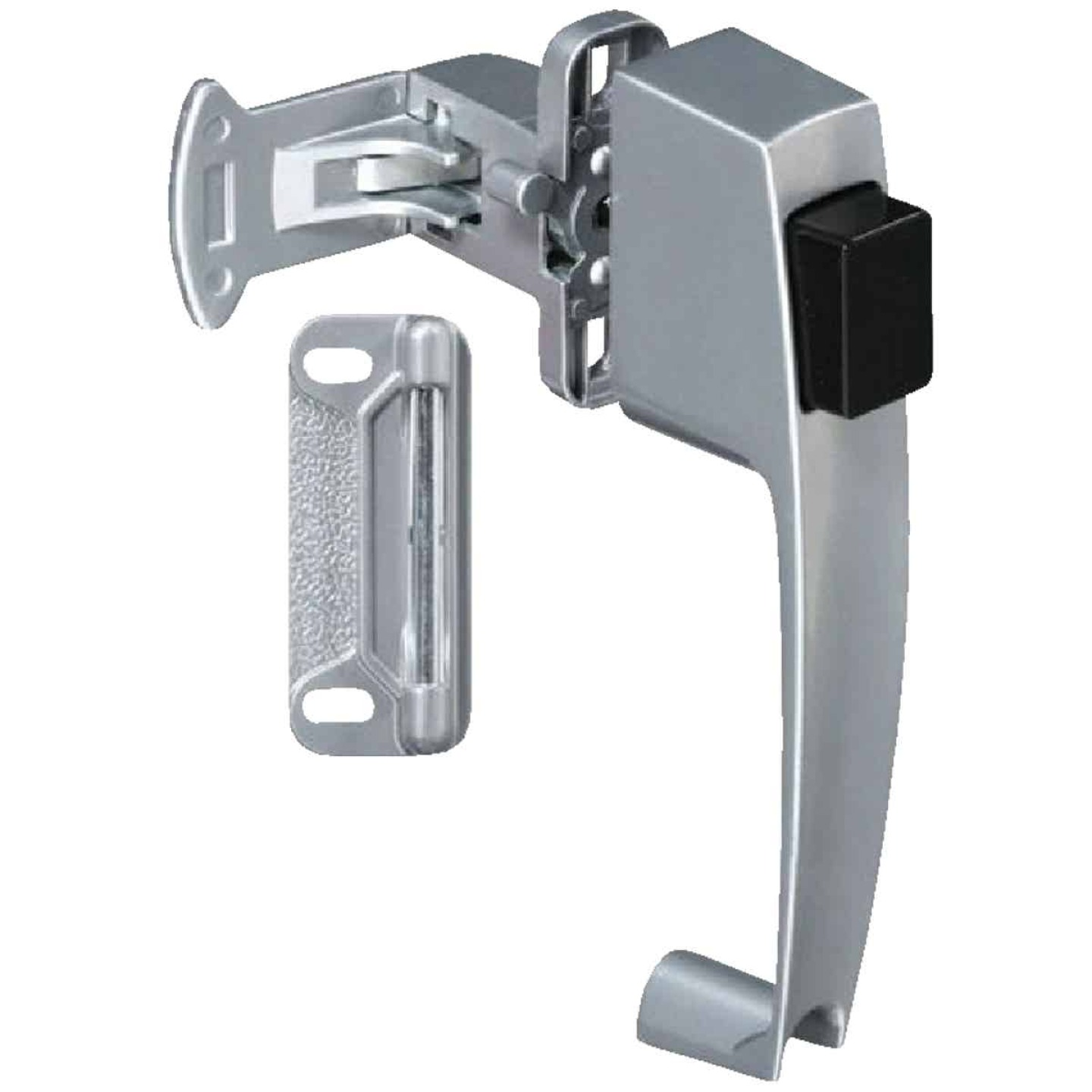 National Silver Push Button Latch with 1-1/2 In. Hole Spacing Image 1