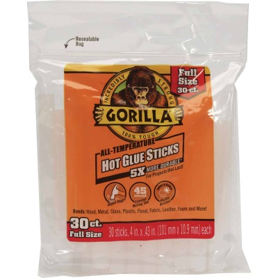 Gorilla 4 In. Standard Clear Hot Melt Glue (30-Pack)