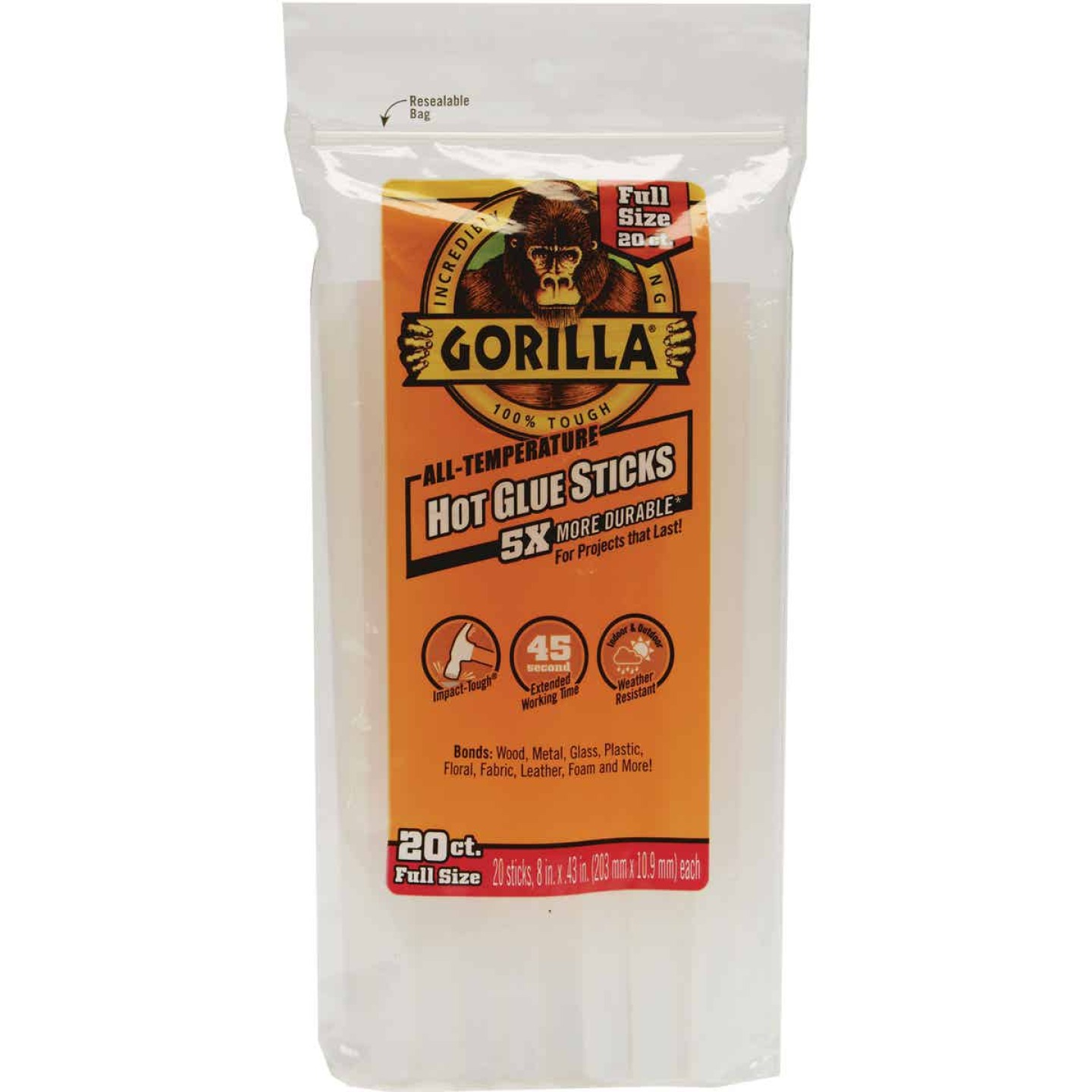 Gorilla 8 In. Standard Clear Hot Melt Glue (20-Pack) Image 1