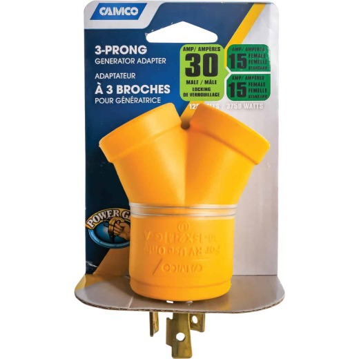 Camco Power Grip 30-Amp 3-Prong Y RV Generator Adapter