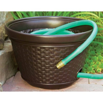 Suncast 100 Ft. Brown Resin Wicker Hose Pot