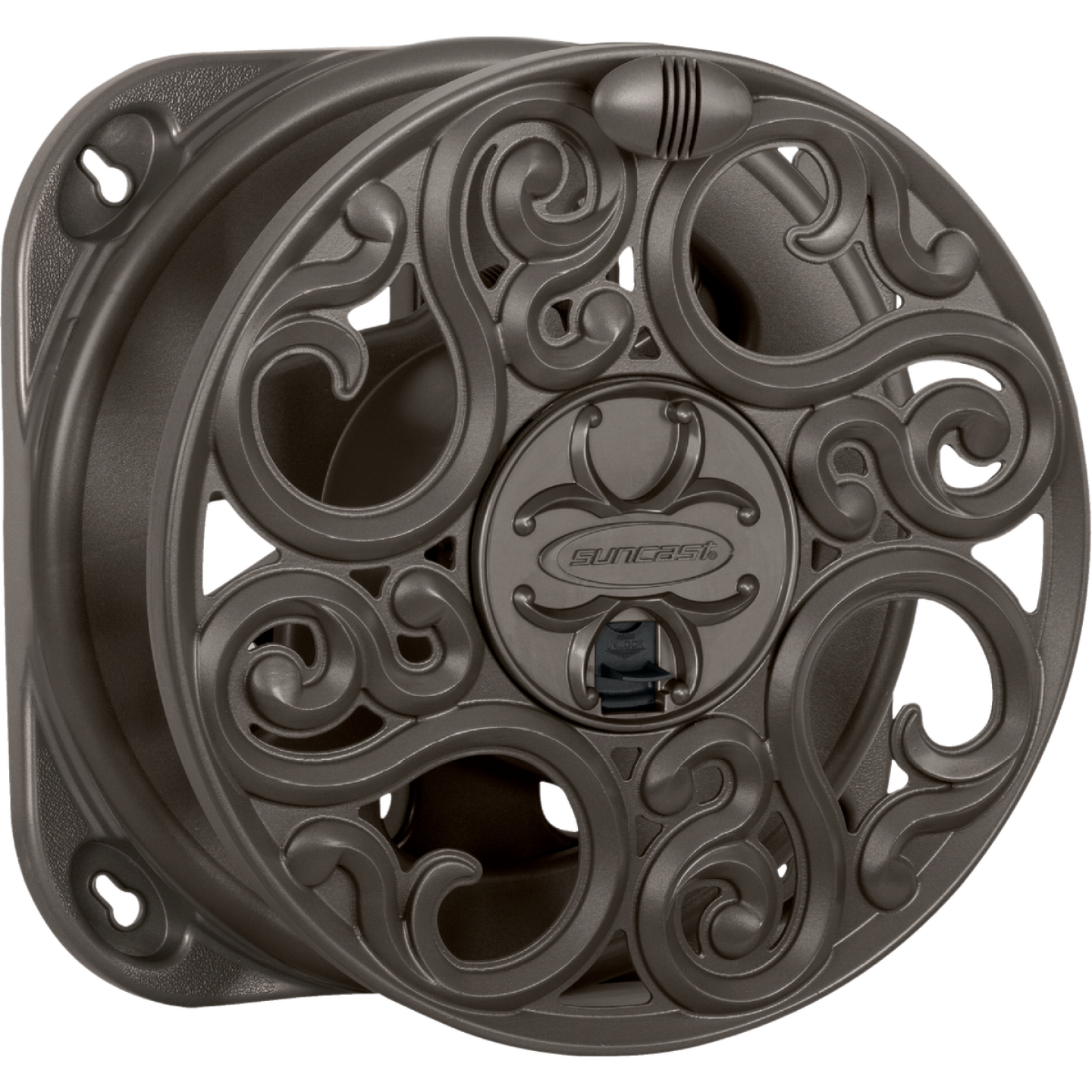 Suncast 60 Ft. x 5/8 In. Brown Resin Decorative Wall Mount Hose Reel Image 1