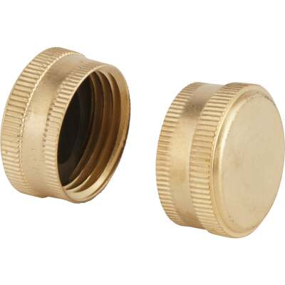 Best Garden Brass 5/8 In. Hose End Cap (2-Pack)