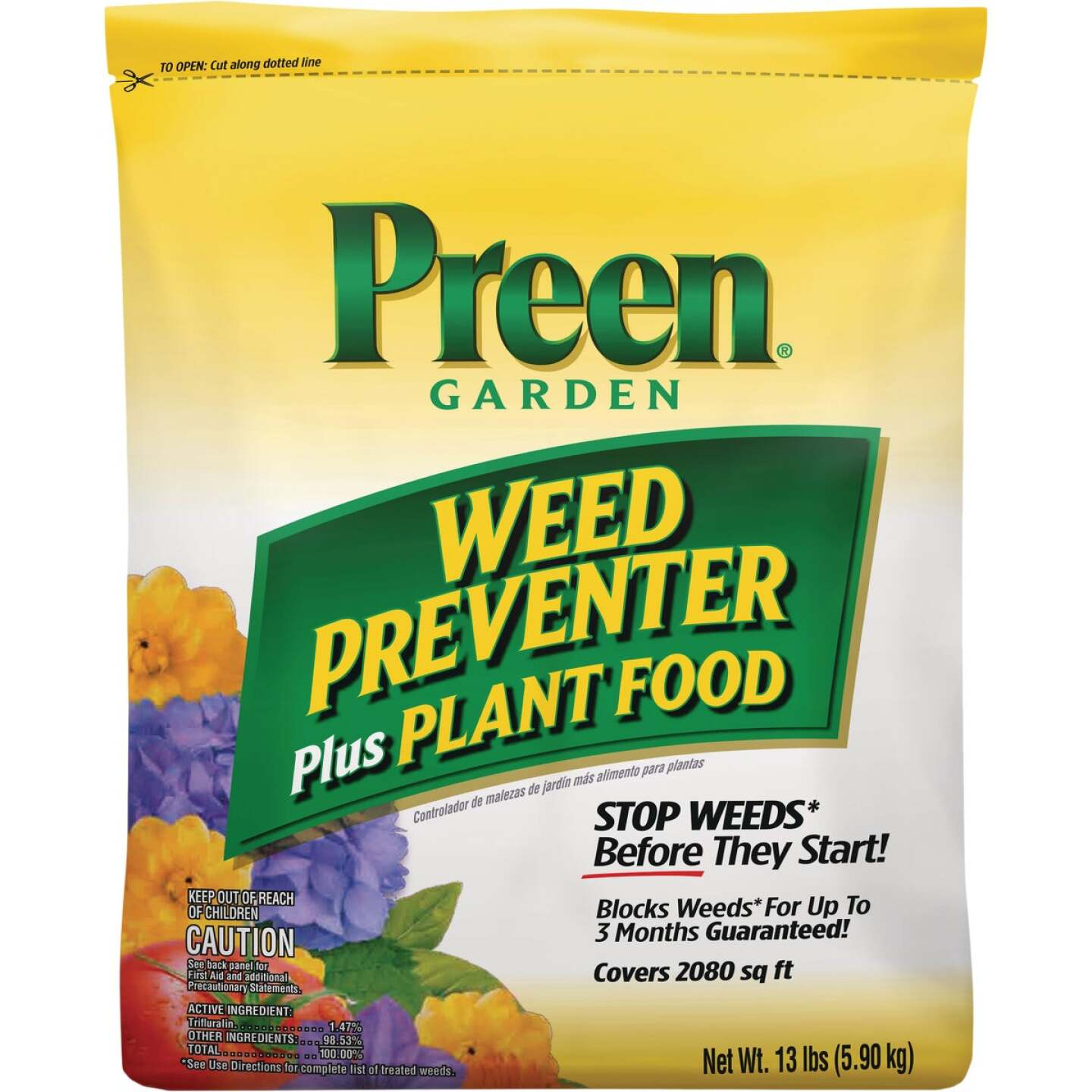 Preen Grass & Weed Preventer Plus Plant Food, 13 Lb. Image 1