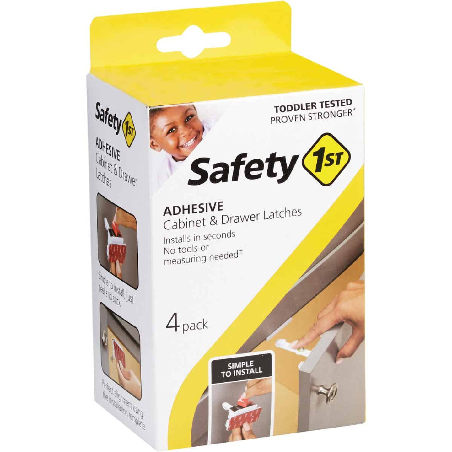 Safety 1st Adhesive Cabinet & Drawer Lock & Latch (4-Pack) Image 1