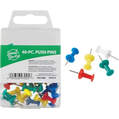 Smart Savers Assorted Color Push Pin (40-Pack)